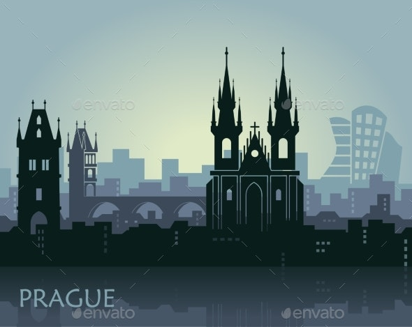 Landscape of Prague with Sights - Miscellaneous Vectors