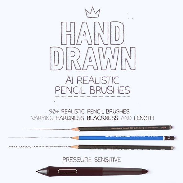 92 Realistic Pencil Brushes for AI CS6 +