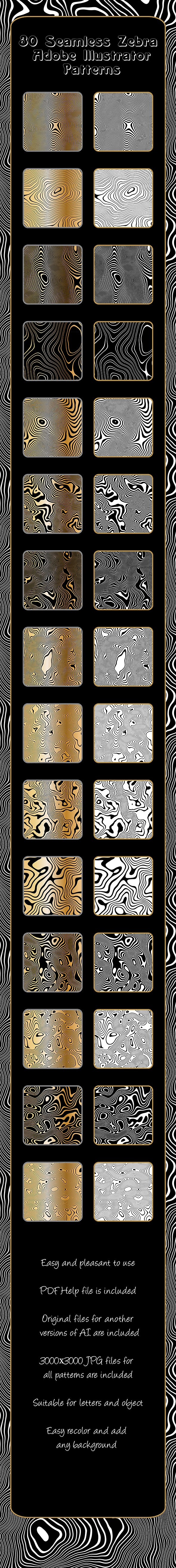 Zebra Repeating Adobe Illustrator Patterns - 30 Seamless Moire Animalistic Vector Filling - Nature Textures / Fills / Patterns