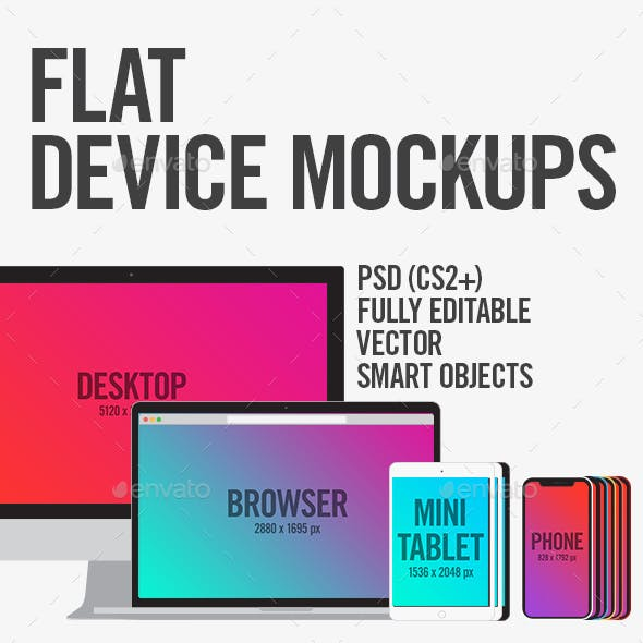 Flat Device Mockups (Phone, Tablet, Laptop, Desktop)