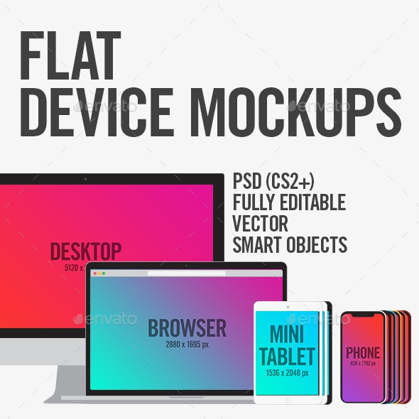 Flat Device Mockups (Phone, Tablet, Laptop, Desktop) - Website Displays