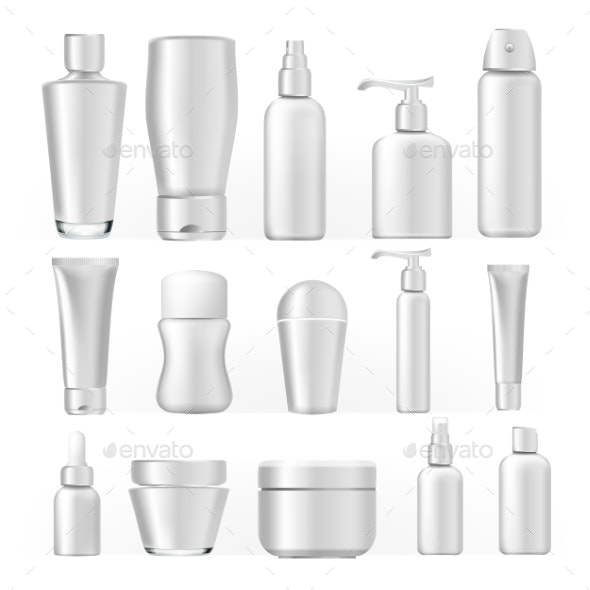 Cosmetic Bottles Set Vector - Man-made Objects Objects