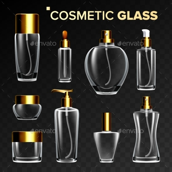 Cosmetic Glass Set Vector - Man-made Objects Objects