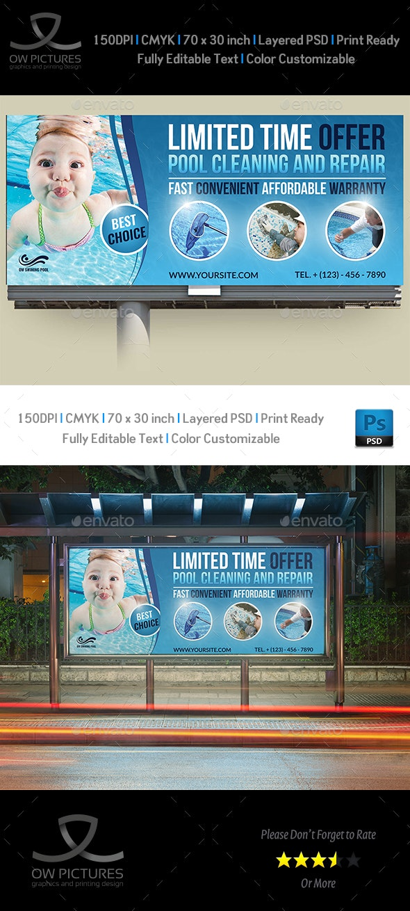 Swimming Pool Cleaning Service Billboard Template Vol.2 - Signage Print Templates