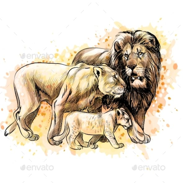 Family of Lions with a Splash of Watercolor