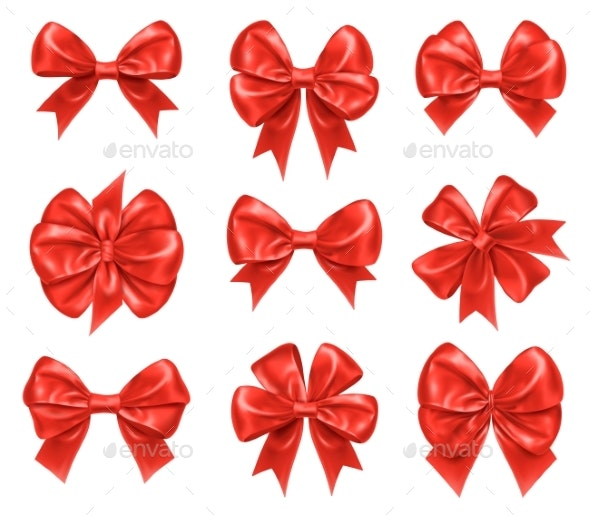 Bow Knots for New Year and Xmas Gift Decorations - Decorative Symbols Decorative