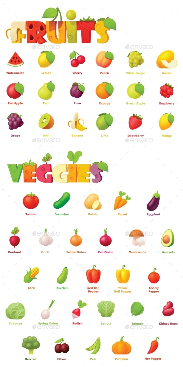 Vector Fruits and Vegetables Icon Set - Food Objects