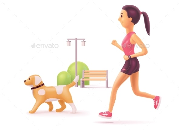 Vector Woman Jogging in Park with Dog - Sports/Activity Conceptual