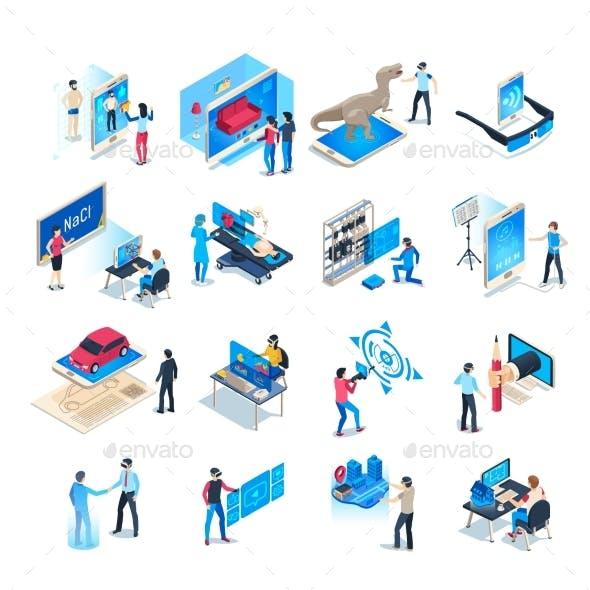 Isometric Virtual Reality Simulations Icons