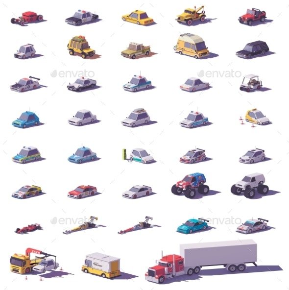 Vector Cars and Trucks Icon Set - Man-made Objects Objects