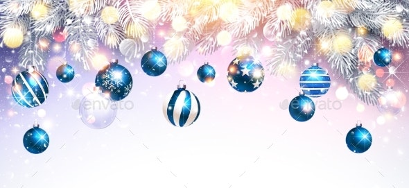 Christmas Decorations with Blue Balls and Fir - Christmas Seasons/Holidays