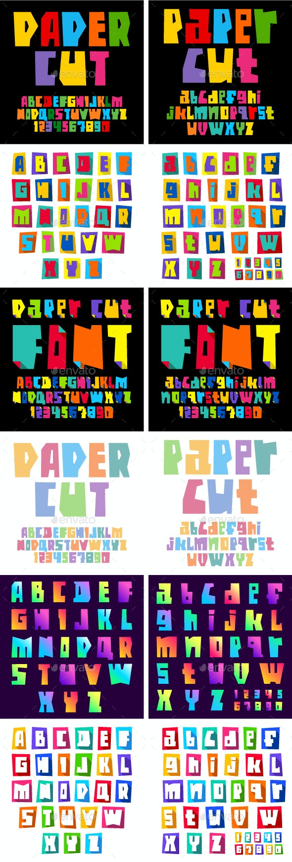Paper Font Cut Letters - Decorative Symbols Decorative
