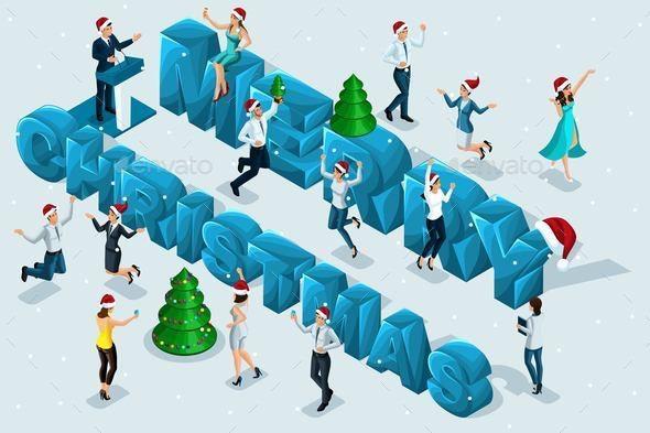 Isometric Merry Christmas - Christmas Seasons/Holidays
