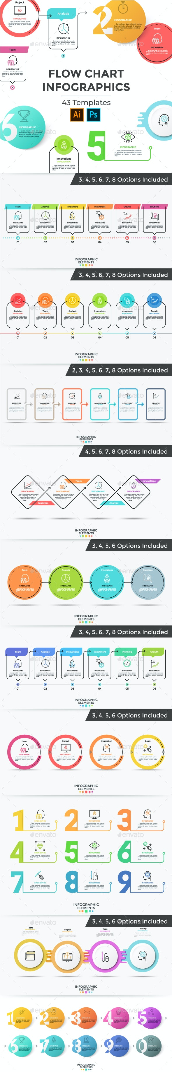 Set Of Flow Chart Infographics - Infographics