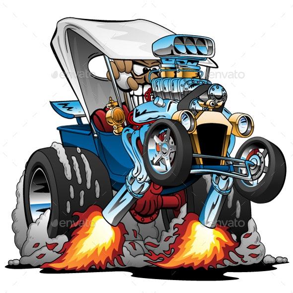 Custom T-Bucket Roadster Hotrod Cartoon - Miscellaneous Conceptual