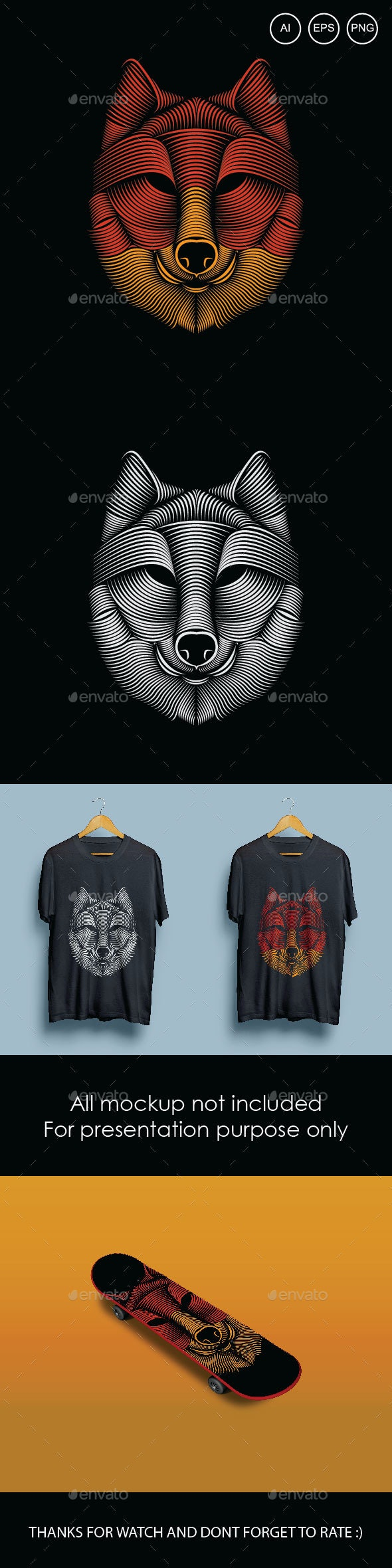 Wolf Head Vector - Animals Characters