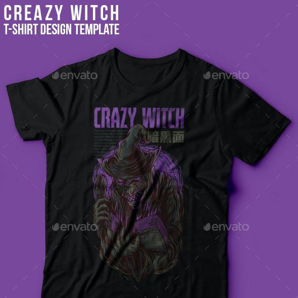 Crazy Witch T-Shirt Design