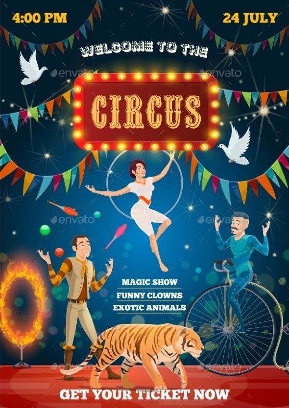 Circus Acrobat Equilibrist, Animals Tamer Show - Characters Vectors