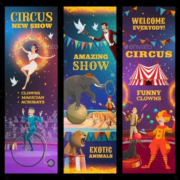 Magician, Animals, Clown and Acrobats in Circus