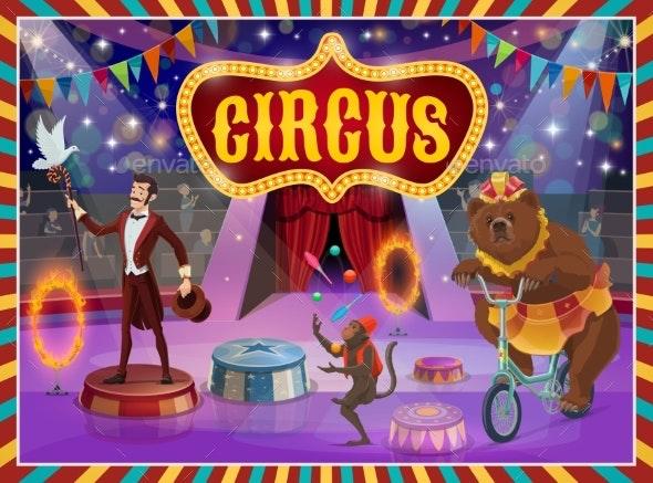 Big Top Circus Show Magician, Animals Performance - Characters Vectors