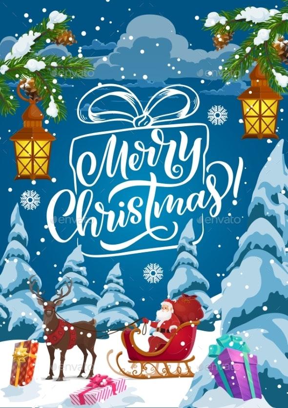 Christmas Sleigh with Santa, Xmas Gifts and Deer - Christmas Seasons/Holidays