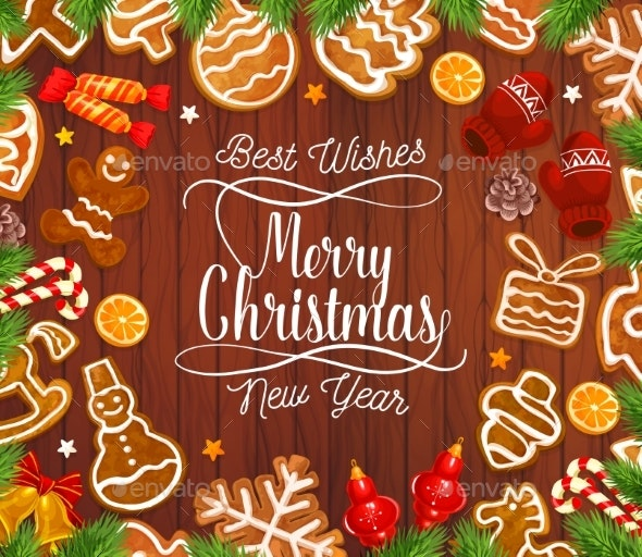Christmas Gingerbread Cookies on Wooden Backdrop - Christmas Seasons/Holidays