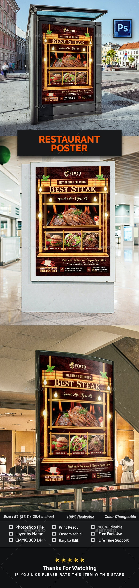 Restaurant Poster Template - Signage Print Templates