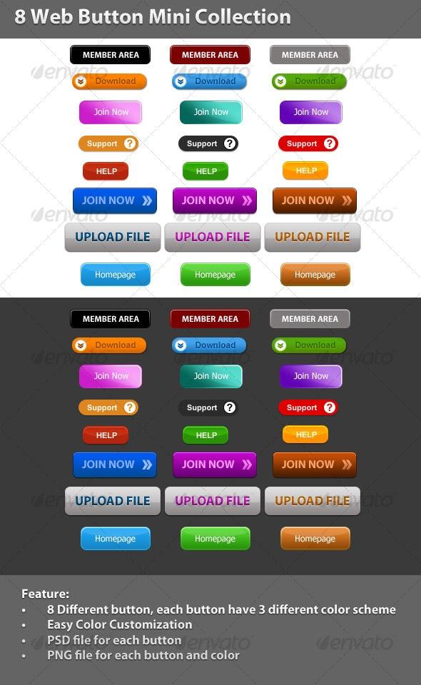 8 Web Button Mini Collection - Buttons Web Elements