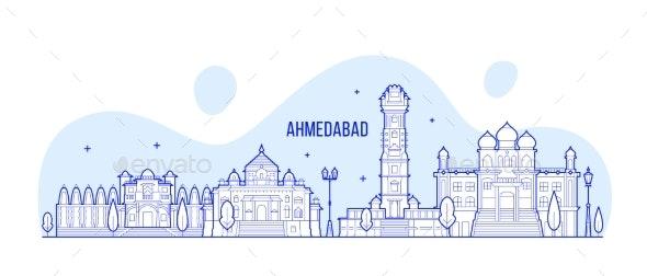 Ahmedabad Skyline Gujarati India City Vector Line - Buildings Objects