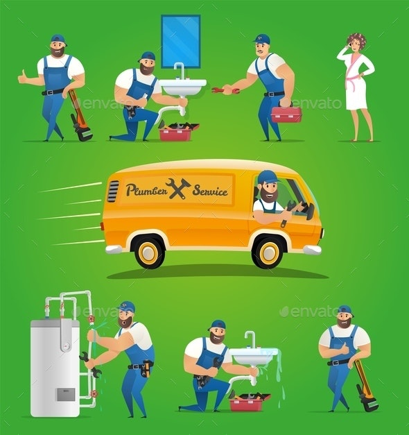 Vector Illustration Concept Plumber Service - People Characters