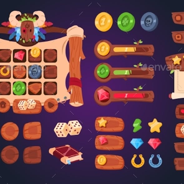 Cartoon Game Ui. Wooden Buttons, Sliders and Icons