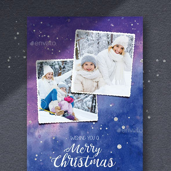 6 Watercolor Christmas Photo Cards