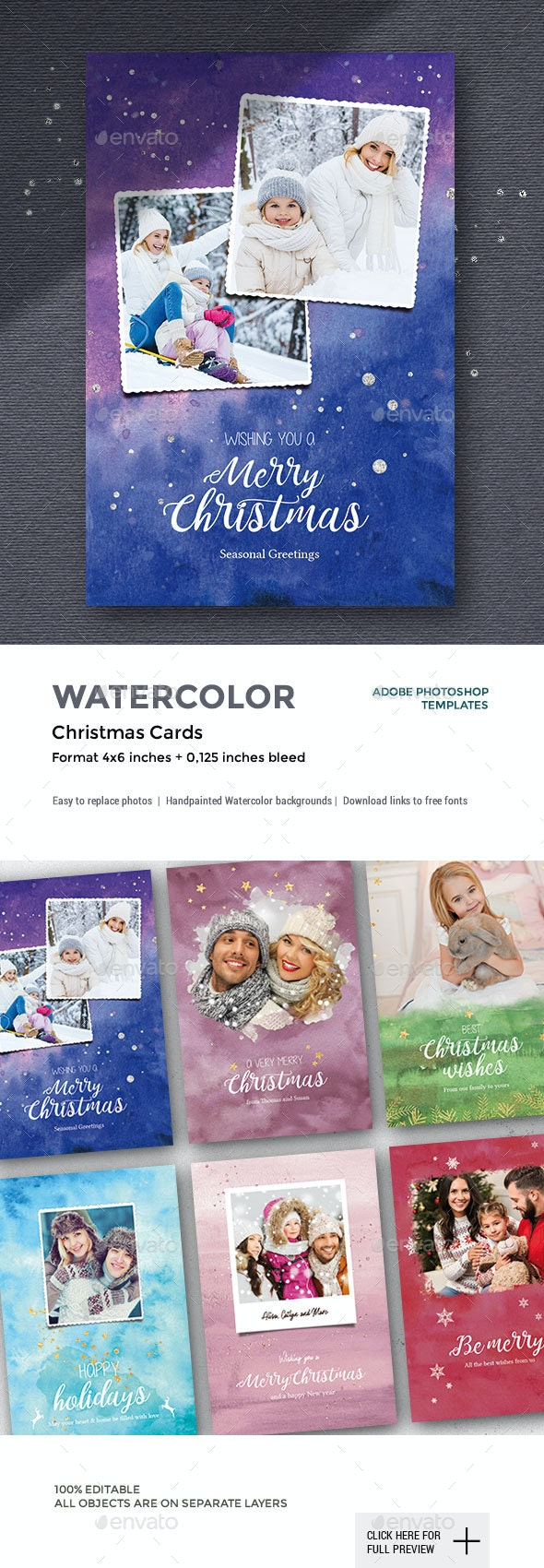 6 Watercolor Christmas Photo Cards - Cards & Invites Print Templates