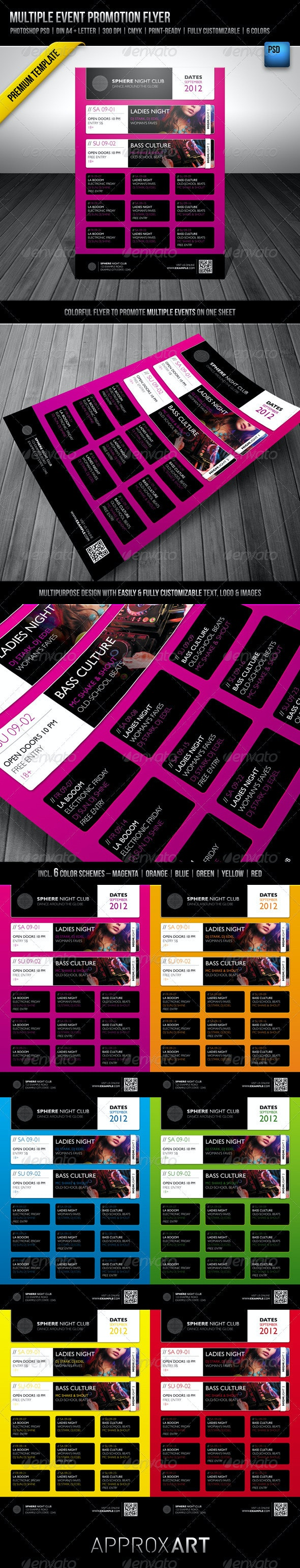 Multiple Event Promotion Flyer - Clubs & Parties Events