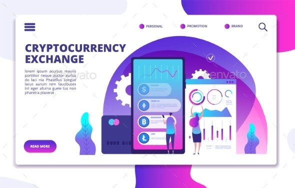 Cryptocurrency Exchange Landing Page. Online - Objects Vectors