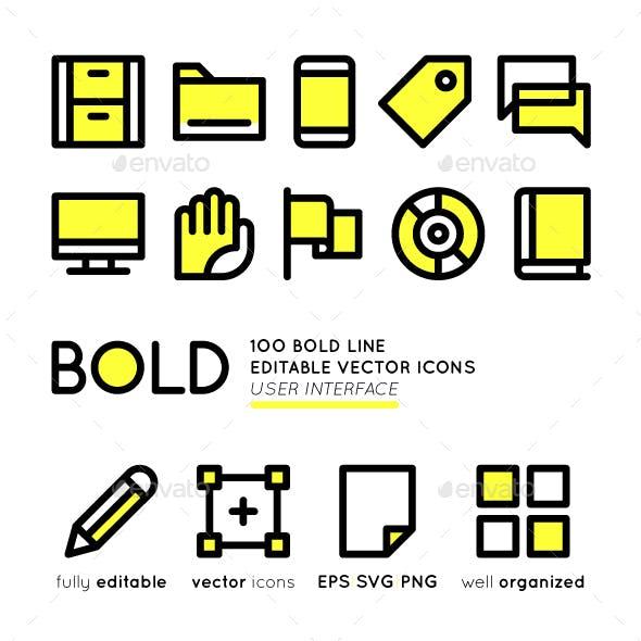100 BOLD basic User Interface icons