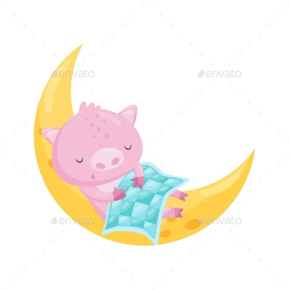 Little Pig Sleeping on the Moon - Animals Characters