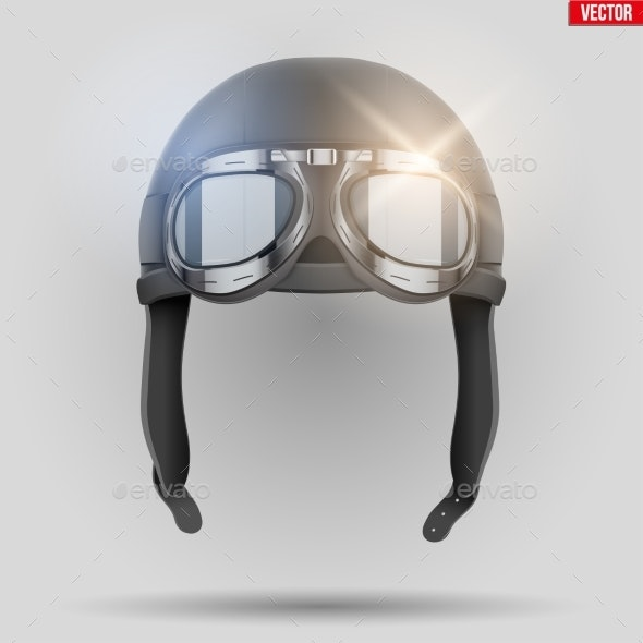 Retro Aviator Helmet with Goggles - Miscellaneous Vectors