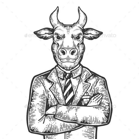 Bull Businessman Engraving Vector Illustration