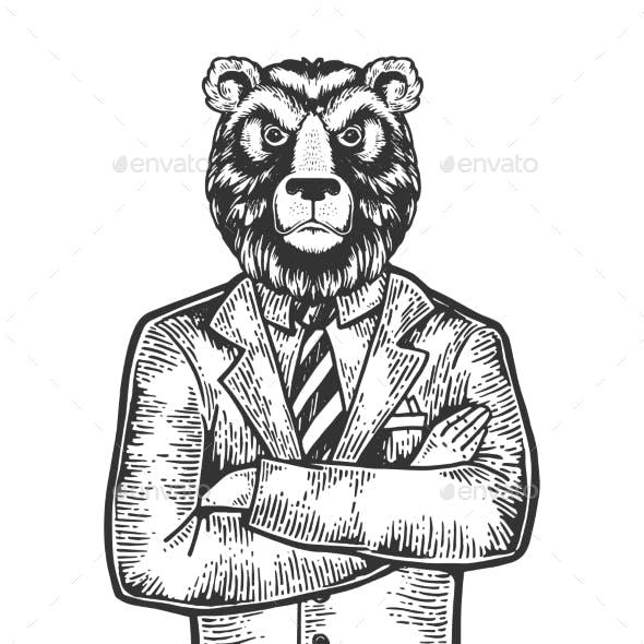 Bear Businessman Engraving Vector Illustration
