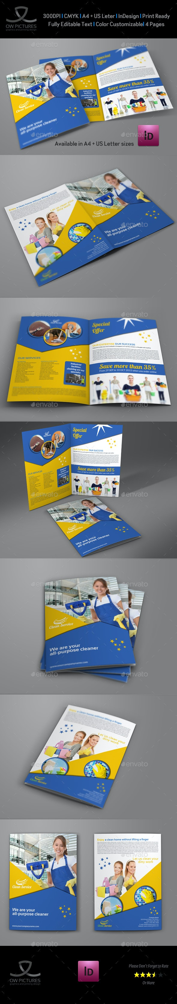 Cleaning Services Company Bi-Fold Brochure - Informational Brochures