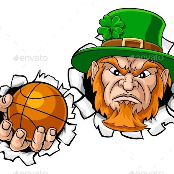 Leprechaun Basketball Mascot Ripping Background
