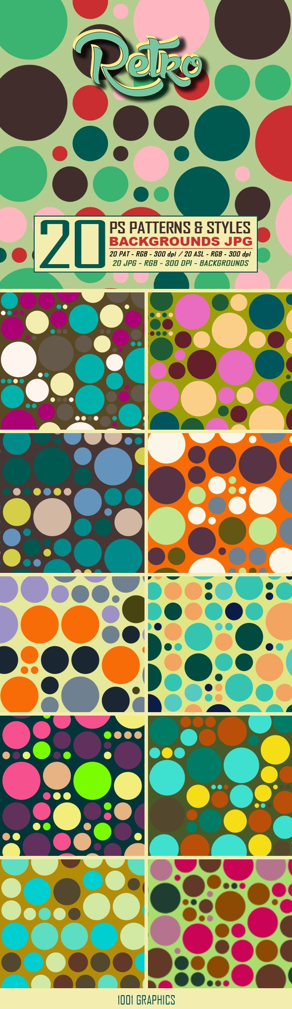 20 Retro Dots Patterns & Styles - Textures / Fills / Patterns Photoshop