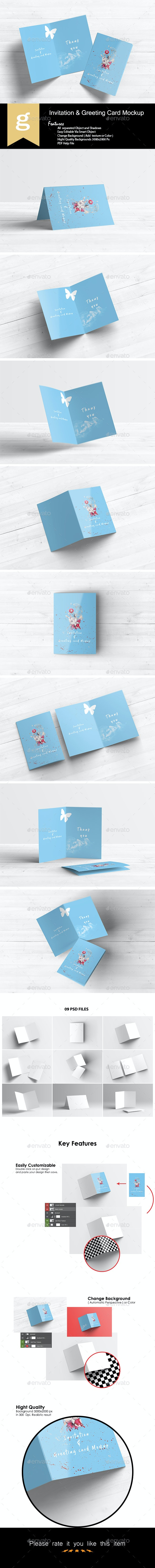 Invitation & Greeting Card Mockups - Print Product Mock-Ups