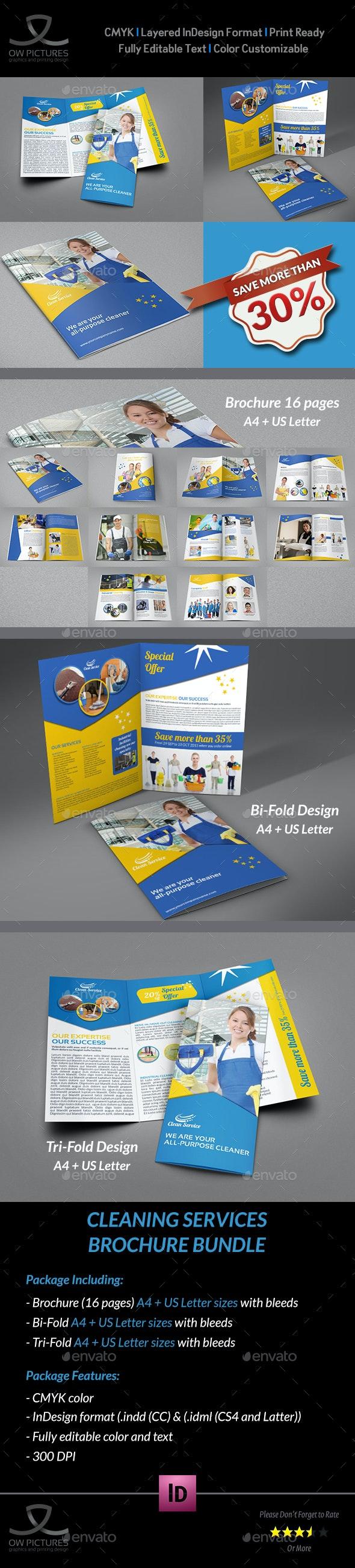 Cleaning Services Brochure Bundle Template - Brochures Print Templates