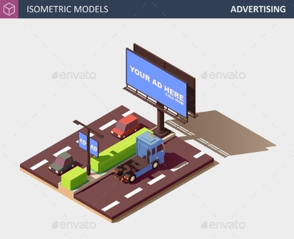 Outdoor Advertising Concept with Billboard - Miscellaneous Vectors