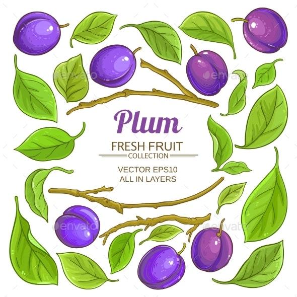 Plum Elements  Vector Set - Food Objects