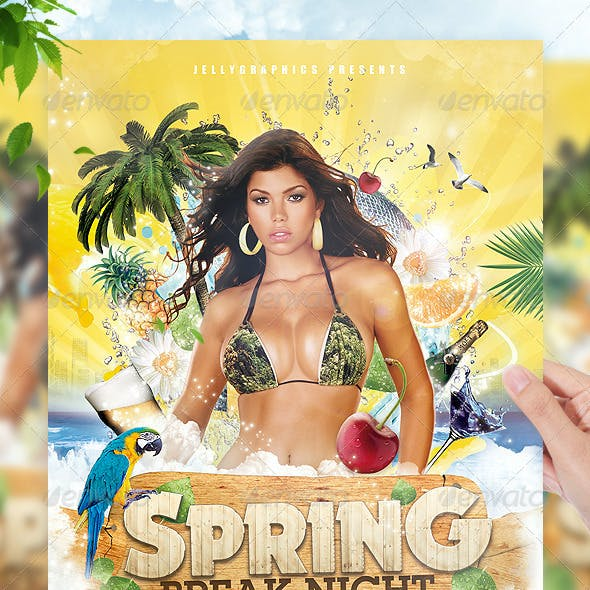 Tropical Spring Summer Beach Night Flyer Party