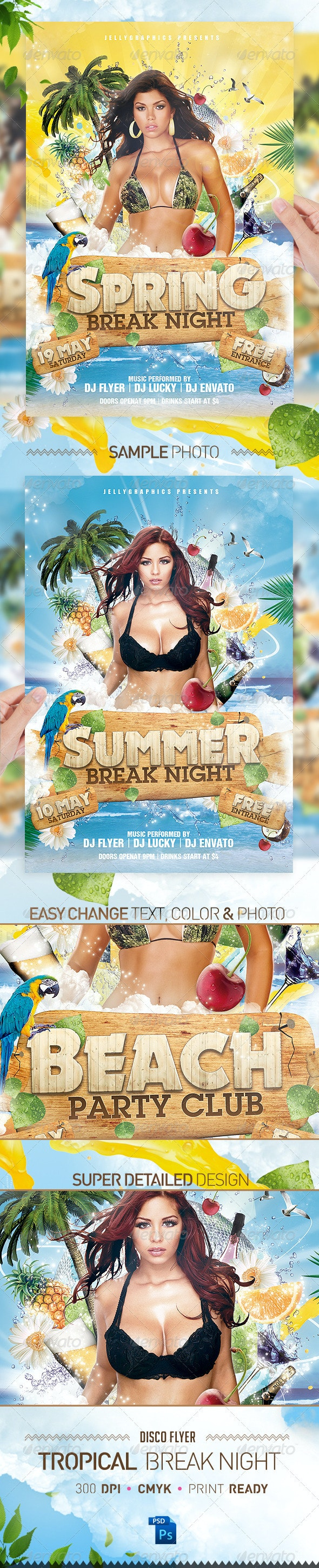 Tropical Spring Summer Beach Night Flyer Party - Flyers Print Templates