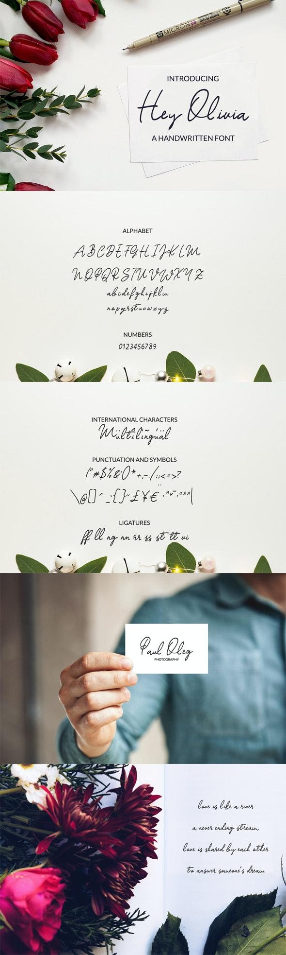 Hey Olivia Handwritten Font - Hand-writing Script
